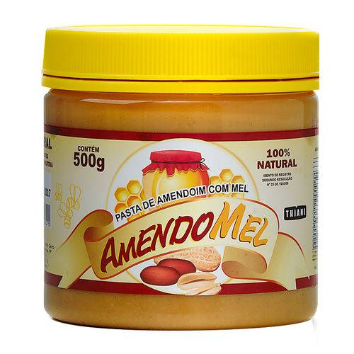 Pasta de Amendoim Amendomel Natural e Integral - Thiani Alimentos - Sabores 500g