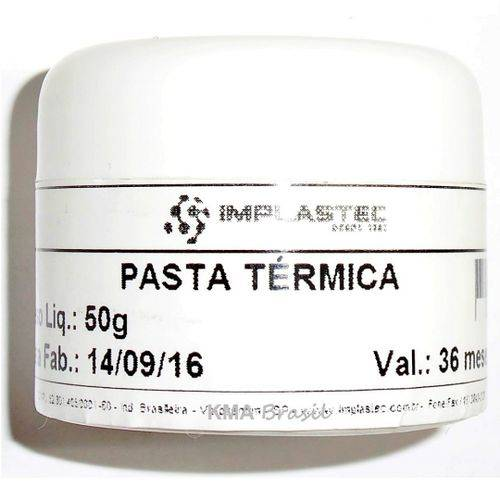 Pasta Térmica 50g - P/Processador Pc Ps3 Ps2 Xbox 360 - Implastec