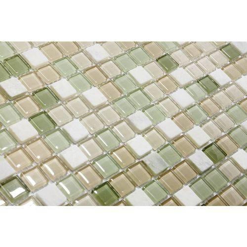 Pastilha de Vidro com Pedras Naturais e Metais TS400, Verde, Branco e Bege 30x30