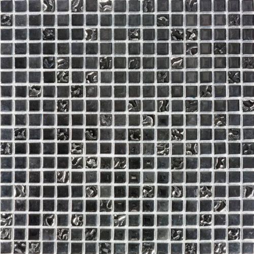 Pastilha de Vidro com Pedras Naturais e Metais TS455 Preto 30x30