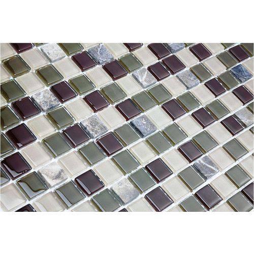 Pastilha de Vidro com Pedras Naturais e Metais TS515 Verde, Bege e Cinza 30x30