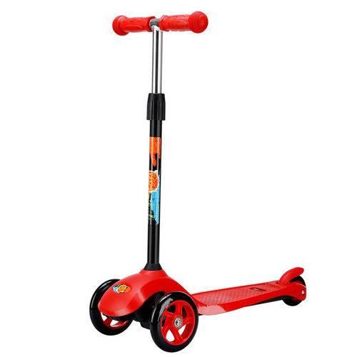 Patinete 3 Rodas Infantil com Altura Ajustável com Rodas Pu Vermelho