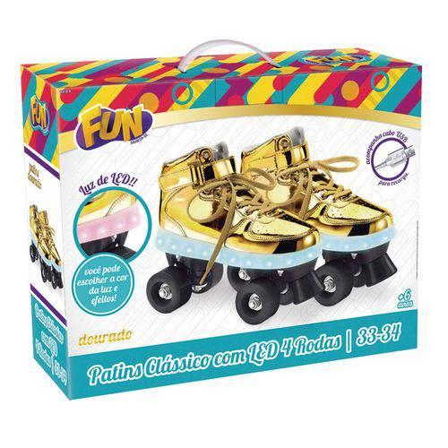 Patins com Led 4 Rodas Dourado 33/34 83104 - Fun