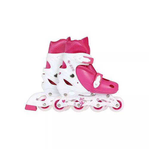 Patins Roller Row Infantil Rosa Regulável do 34 a 37 Mor