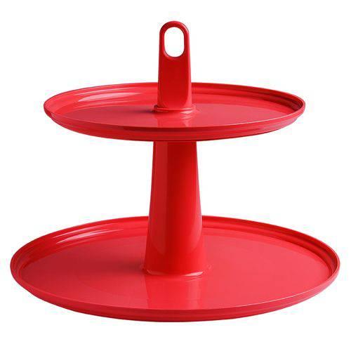 Pedestal 2 Andares Ideal para Doces e Cupcakes 32,5X26cm, Cor Vermelha, Cake - Brinox