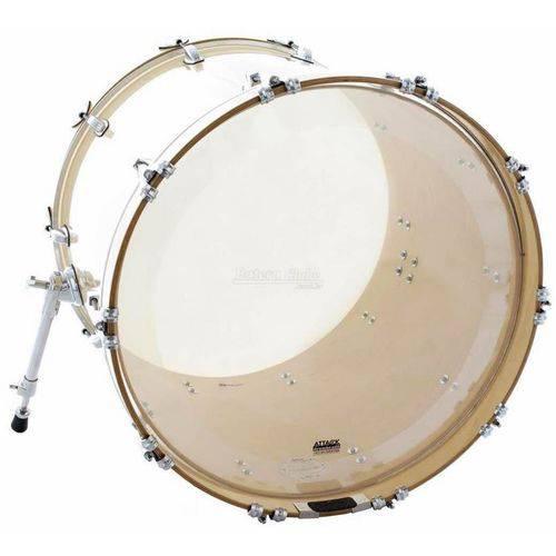 Pele Attack Drumheads 1-ply no Overtone Bass Clear 20¨ Pele de Bumbo com Muffle Abafador Dhno20