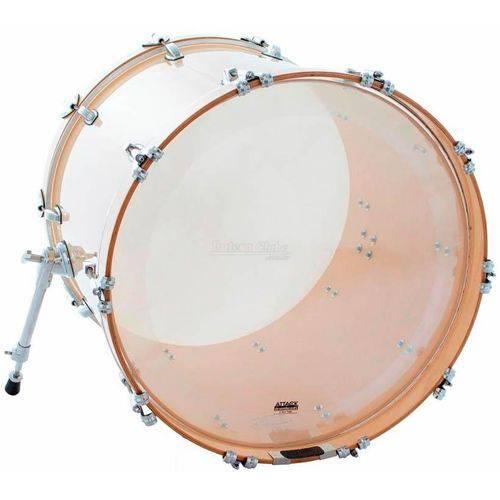 Pele Attack Drumheads 2-ply Thin Skin 3 Clear 20¨ Pele de Bumbo com Muffle Abafador Dhts3no20