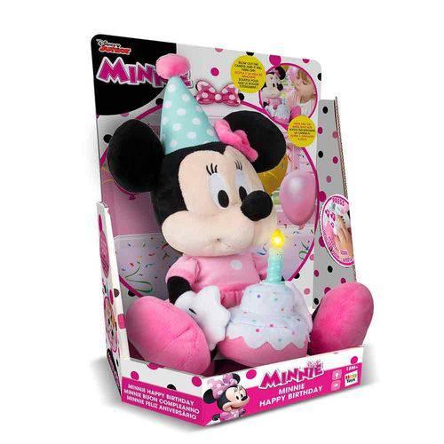 Pelúcia Minnie com Som Happy Birthday - Multikids