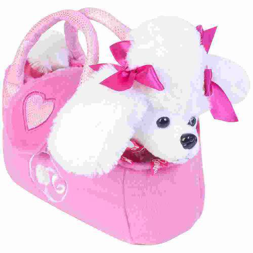 Pelucia na Bolsinha Barbie - Poodle Branco Bb0921
