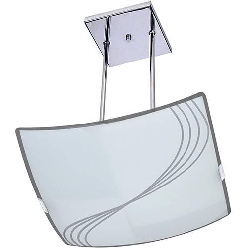 Pendente Linhas Quadrado Metal/Vidro Branco - Attena