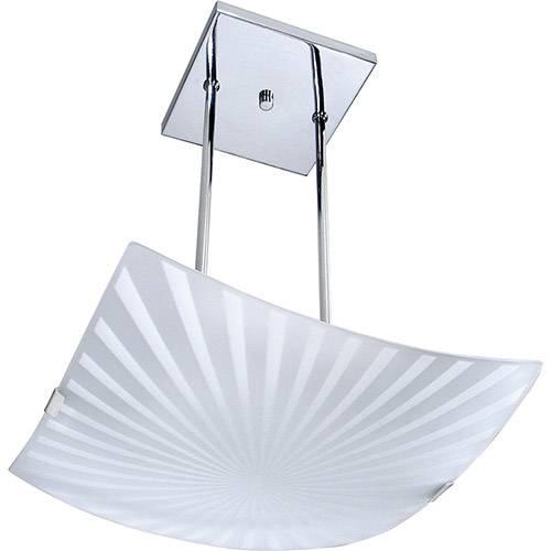 Pendente Radial Quadrado Metal/Vidro Branco - Attena