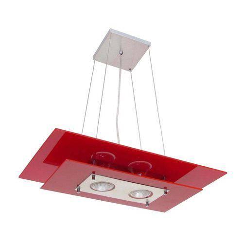 Pendente Retangular Palladium 2 Lâmpadas E27 Vermelho Attena