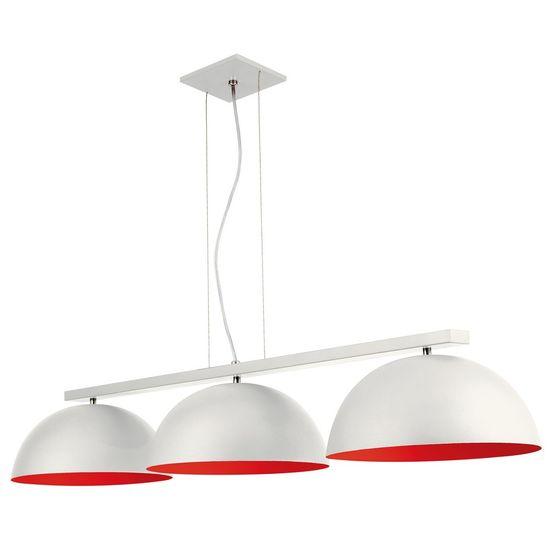 Pendente Triplo 6002 Redondo 32x19x112 3 Lâmpadas S Branco e Vermelho
