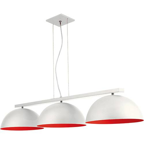 Pendente Triplo 6002 Redondo 32x19x112cm 3 Lâmpadas Branco e Vermelho - Pantoja&Carmona