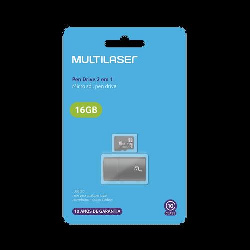 Pendrive + Micro SD 16GB Multilaser MC162