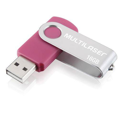 Pendrive Rosa 16GB Multilaser 5 Anos Garantia