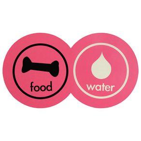 Pet Food Water Tapete/comedouro Fucsia Multicor