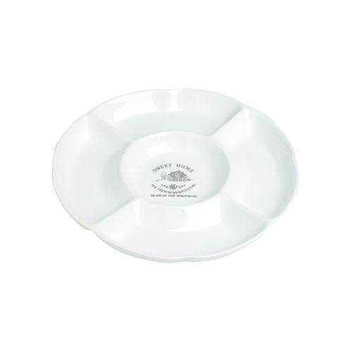 Petisqueira de Cerâmica Branca com Divisórias Sweet Home 20x2cm