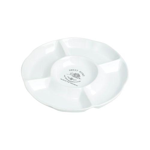 Petisqueira de Cerâmica Branca com Divisórias Sweet Home 23,5x3cm