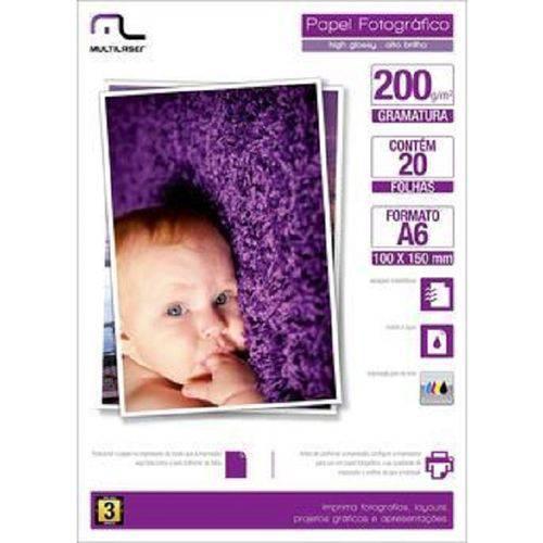 Photo Paper com 200 10x15 com 20 Folhas Multilaser - PE010