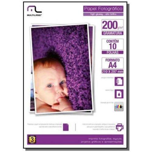 Photo Paper Glossy 200 Gr Tam. A4 C/ 10 Fls