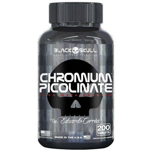 Picolinato de Chromo Chromium Picolinate By Eduardo Corrêa - Black Skull - 200 Tablets