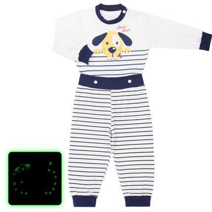 Pijama 4 Botões que Brilha no Escuro Au Au - Cara de Criança