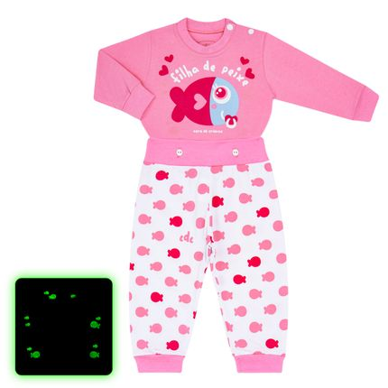 Pijama 4 Botões que Brilha no Escuro Filha de Peixe - Cara de Criança