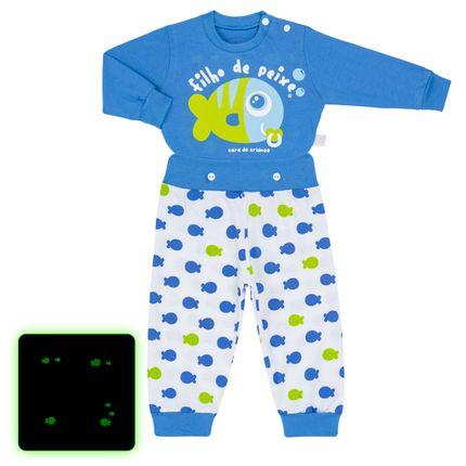Pijama 4 Botões que Brilha no Escuro Filho de Peixe - Cara de Criança