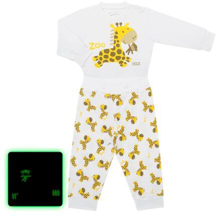 Pijama 4 Botões que Brilha no Escuro Girafinha - Cara de Criança