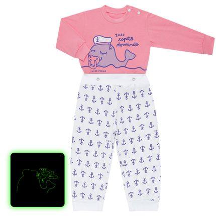 Pijama 4 Botões que Brilha no Escuro Miss Captain - Cara de Criança