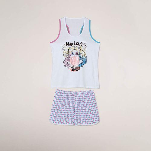 Pijama Arlequina Short Doll e Regata (Adulto) Tamanho: M | Cor: Branca