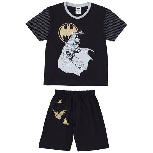 Pijama Batman Manga Curta (Infantil) Tamanho: 12 | Cor: Grafite
