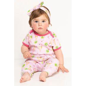 Pijama Bebê Body e Calça - Sorvete Flamingos 3-6m