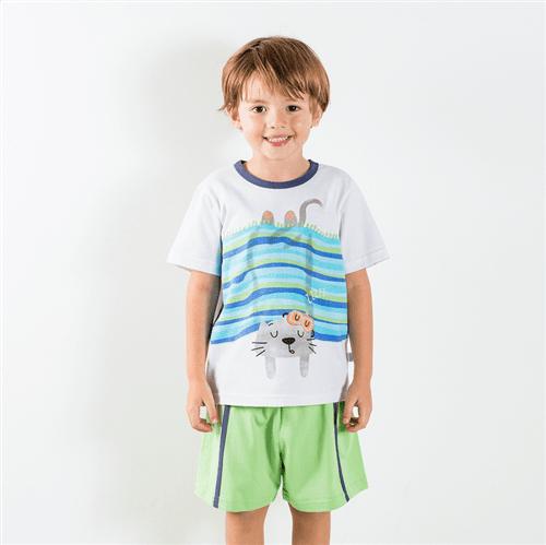 Pijama Camiseta e Short Avulso Bco e Kiwi/g