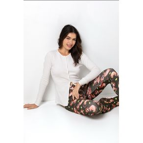 Pijama Canelado com Abertura de Botão - Lion Cut! Gg