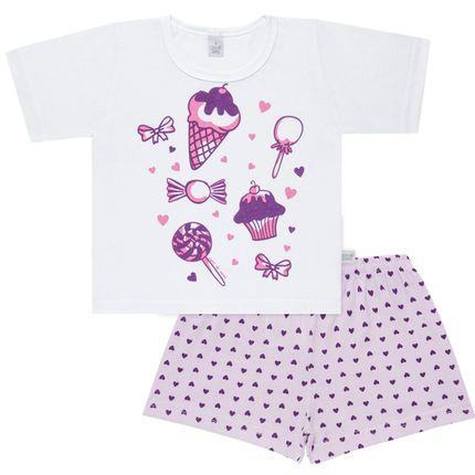 Pijama Curto com Shorts em Malha Candy - Cara de Sono