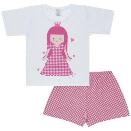 Pijama Curto com Shorts em Malha Princesinha - Cara de Sono