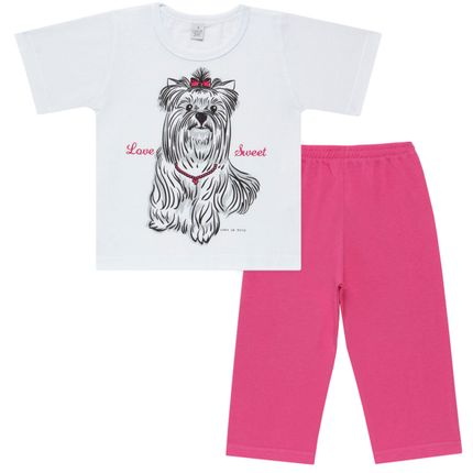 Pijama Curto em Malha Cachorrinha - Cara de Sono
