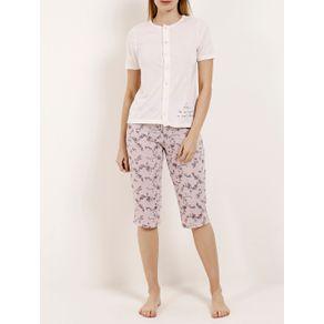 Pijama Curto Feminino Nude/rosa G