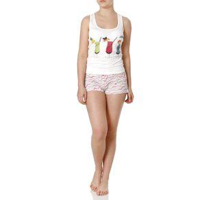 Pijama Curto Feminino Off White M