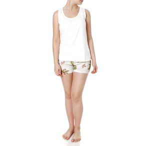 Pijama Curto Feminino Off White P