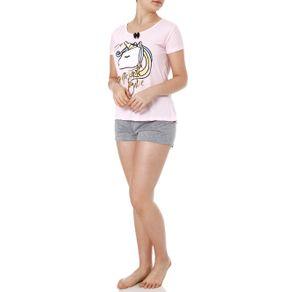 Pijama Curto Feminino Rosa M