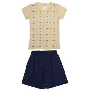 Pijama Curto Infantil para Menina - Amarelo/azul 8