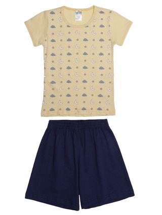 Pijama Curto Infantil para Menina - Amarelo/azul