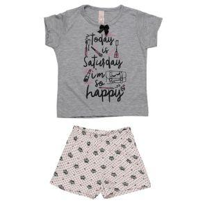 Pijama Curto Infantil para Menina - Cinza 3