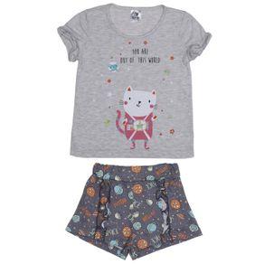 Pijama Curto Infantil para Menina - Cinza 8