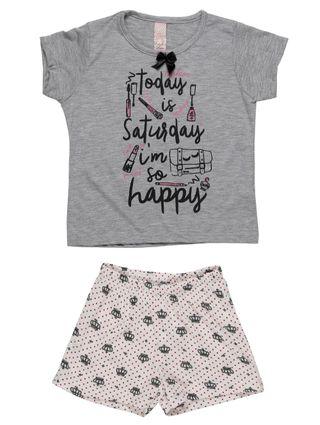 Pijama Curto Infantil para Menina - Cinza