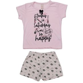 Pijama Curto Infantil para Menina - Rosa 2