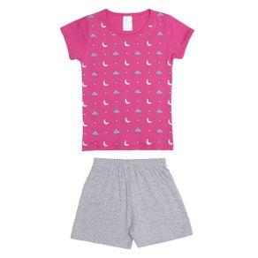 Pijama Curto Infantil para Menina - Rosa/cinza 6